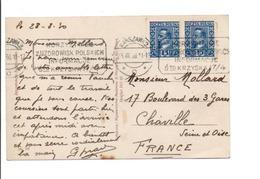 POLOGNE AFFRANCHISSEMENT COMPOSE SUR CARTE DE VARSOVIE POUR LA FRANCE 1930 - 1919-1939 République