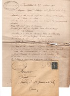 COURTALAIN A CELLIER MACHINES AGRICOLES ANNEE 1909 LETTRE ET ENVELOPPE AVEC CACHET DECHIRRE A DROITE VOIR SCAN - Francia