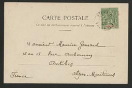 "1902 / N° 44 Obl. C-à-d Maritime Cot 80 €. ""LIGNE D PAQ. FR. N°2 4/12/02"" Sur CP Adressée En France - Briefe U. Dokumente"