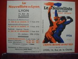 Lyon . Calendrier Publicitaire Pour Le Nouvelliste De Lyon . De 1936 . 2 Photos - Kalenders