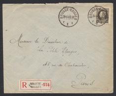 Petit Montenez - N°214 Sur Lettre En Recommandé De Brugge / Bruges (1923) Vers Paris / Vignette L'esperento - 1921-1925 Montenez Pequeño