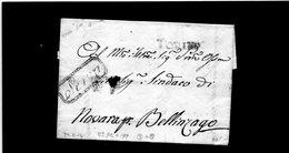 CG17 - Lett. Da Torino X Bellinzago 23/11/1816 - Bollo Stamp. Dir. Nero + Bollo Pers. Con Diritto Alla Franchigia Post. - ...-1850 Voorfilatelie