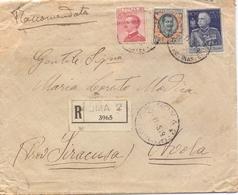 1925 Raccomandata Da Roma 2 Per Avola Con Floreale Da 2 L. Giubileo  .   -franc - 1900-44 Vittorio Emanuele III