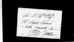CG17 - Lett. Da Torino X Cerano 3/11/1815- Bollo Stamp. Dir. Nero + Bollo Pers. Rosso Con Diritto Alla Franchigia Post. - ...-1850 Voorfilatelie