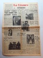 La France - Journal Du 5 Janvier 1960 - Décès D'Albert Camus - Charente-Maritime - Journaux - Quotidiens