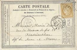 1873- Carte Précurseur De PARIS / R. D'ANTIN    Affr. N° 55 Oblit. étoile  8 - Storia Postale