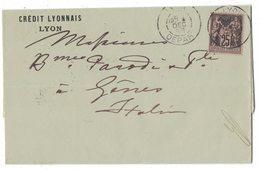 IZ479    LETTRE 1888 CREDIT LYONNAIS,  Sage N°97 ISOLÉ, LION / GENOVA. - 1876-1898 Sage (Type II)