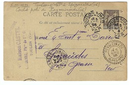 FRANCE 1895: CP De Toulon Pour  Spézacèdes (Alpes Mar.) Avec Superbe CAD Perlé De  Peymeinade  TTB - 1876-1898 Sage (Type II)