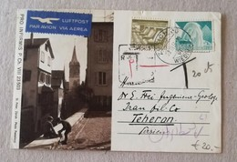 Cartolina Postale Luftpost Zurigo-Teheran - 28/03/1951 Tassata - Svizzera