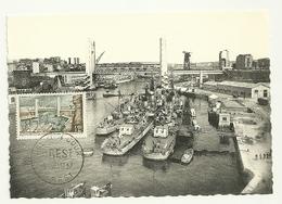FINISTERE - Dépt N° 29 = BREST 1957 = CARTE MAXIMUM CM + CACHET FDC / PREMIER JOUR ' PORT' + N° 1117' - Maximum Cards