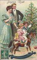 Joyeux Noël , Cheval De Bois , Carte Gaufrée , 1908 - Noël