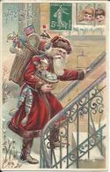 Joyeux Noël , Le Père Noël Arrive , Carte Gaufrée - Noël