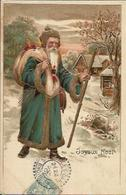 Joyeux Noël , Le Père Noël Arrive , Carte Gaufrée , 1905 - Noël