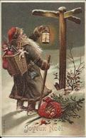 Joyeux Noël , Le Père Noël Cherche Sa Route , Carte Gaufrée - Noël