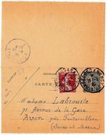 Entier Postral 1920 Cachet Ambulant Strasbourg à Nancy Type Semeuse - Entiers Postaux