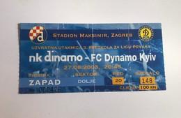 Football NK DINAMO ZAGREB Vs FC DYNAMO KYIV  Ticket 27.08.2003. UEFA CHAMPIONS LEAGUE PLAY OFF - Tickets D'entrée