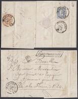 BELGIQUE COB 31+33 AU VERSO D UNE LETTRE RECOMMANDE DE TERMONDE 18/04/1874 TRIPLE PORT (DD) DC-7144 - 1869-1883 Léopold II