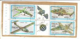 BLOC - REPUBBLICA 1983 , Serie Aeroplani N. 1632/1635 In Blocco Usato - 6. 1946-.. Repubblica