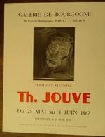 AFFICHE ANCIENNE ORIGINALE Th. JOUVE EXPOSITION PEINTURE 1962 Galerie De Bourgogne Paris 7è - Posters