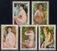 GUINEA ECUATORIAL - Paintings By Auguste Renoir / Set Of 5 Used Stamps (k2157) - Nudi