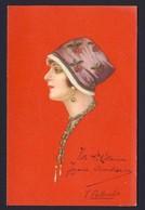 Art Deco Beautiful Lady Wear Flowered Hat And Beads 1921 - E. COLOMBO Artist - Colombo, E.