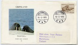 GREENLAND 1973 Walrus 10 Kr. Definitive On FDC.  Michel 83 - FDC