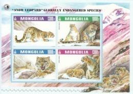 2015 Mongolia Snow Leopard Cats Complete Sheet Of 4 MNH - Mongolië