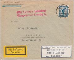 Erstflug Stolp-Danzig Brief 1.6.1926 Mit Luftpost Befördert Flugpostamt Danzig - BRD