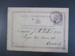 """Carte-Correspondance Verstuurd Uit Termonde/Dendermonde In 1876 - Stempel """"J.Gorus-De Zeeuw"""" - Ganzsachen"""