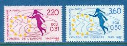 France - Timbre De Service - YT N° 100 Et 101 - Conseil De L'Europe - Neuf Sans Charnière - 1989 - Nuovi