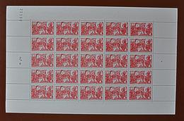 Feuille Complète De 25 Timbres 4f+6f - 1944: Pétain: 88e Anniversaire (Charte Du Travail) N°608 - Full Sheets