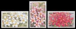 254 - Laos 2001  YT 1429-31 ; Mi# 1791-93 **  MNH  Fleurs, Frangipani - Laos
