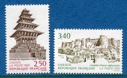 France - Timbre De Service - YT N° 108 Et 109 - Unesco - Neuf Sans Charnière - 1991 - Service