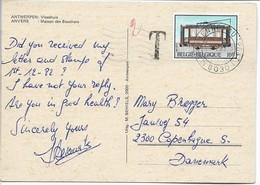 Tramway - Belgium. Card Sent To Denmark. Taxed.  # 04095 - Tramways
