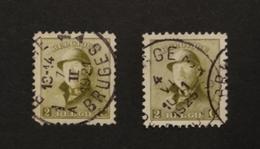 Roi Casqué COB 166 Lot De 2 Timbres Avec Oblitérations Brugge 1 & 3 - 1919-1920 Behelmter König