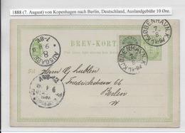 DANEMARK - 1888 - CP ENTIER TYPE 1888  De COPENHAGUE Avec COMPLEMENT => BERLIN - Interi Postali