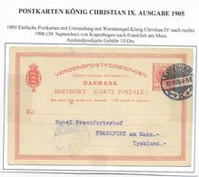 DANEMARK - 1905 - CP ENTIER TYPE CHRISTIAN IX  De COPENHAGUE => FRANKFURT (GERMANY) - Interi Postali