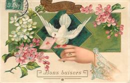 FANTAISIE CARTE GAUFFREE - FLEURS - COLOMBE - DEBARRAS - Tarjetas De Fantasía