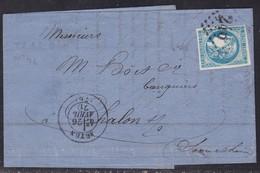 France, Saone Et Loire - Yvert N° 46B, GC 246 D'Autun Sur LAC D'Avril 1871 - 1849-1876: Période Classique