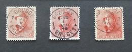 Roi Casqué COB 168 Lot De 3 Avec Belles Oblitérations Différentes Brugge - 1919-1920 Behelmter König