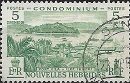 NEW HEBRIDES 1957 Port Villa, Iririki Islet - 5c - Green FU - French Legend