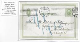 DANEMARK - 1913 - CP ENTIER TYPE FREDERIK VIII De AARHUS => STOCKHOLM (SUEDE) - Interi Postali