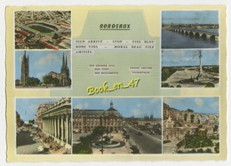 {82871} 33 Gironde Bordeaux , Multivues ; Divers Aspects , Stade , Pont , Monument Des Girondins - Bordeaux