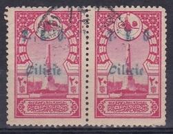 CILICIE ANNE 1919, OCCUPATION FRANÇAISE. PAIR DE TIMBRES-POST DE TURQUIE SURCHARGES, DENTELE AVEC OBLITERES -LILHU - Used Stamps