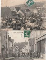 2 CPA:VARZY (58) BÉTAIL CHAMP DE FOIRE,HORLOGERIE RUE DE LA SÉVERIE ???..ÉCRITES - Otros Municipios