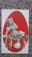 CPA  JOYEUSES PAQUES OEUF JEUNE FEMME LAPIN AVRIL 1904 - Pasqua