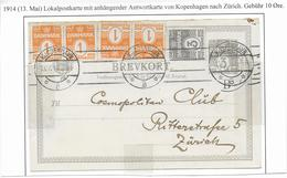 DANEMARK - 1914 - CP ENTIER AVEC REPONSE (PARTIE QUESTION) TYPE 1910 De COPENHAGUE => ZÜRICH (SUISSE) !! - Interi Postali