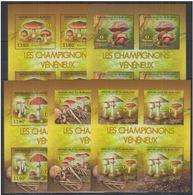 Burundi 2012 Mushrooms Champignons Feuillets De 4 MNH - Mushrooms