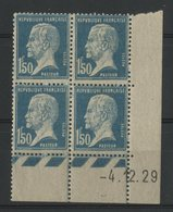 N° 181 ** (MNH) Cote 100 €. 1Fr 50 Type Pasteur, Coin Daté Du 4/12/29. - ....-1929