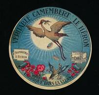"""Ancienne Etiquette Fromage Camembert Le Héron  Fromagerie D'Ayron Vienne 86  """" Oiseau, Héron, Canard Colvert Fleurs"""" - Quesos"""